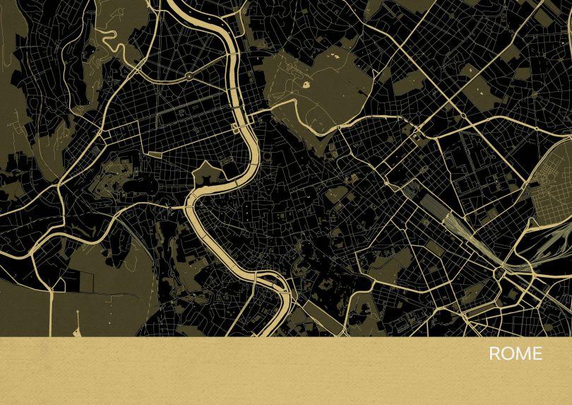 Rome City Street Map Print Straw