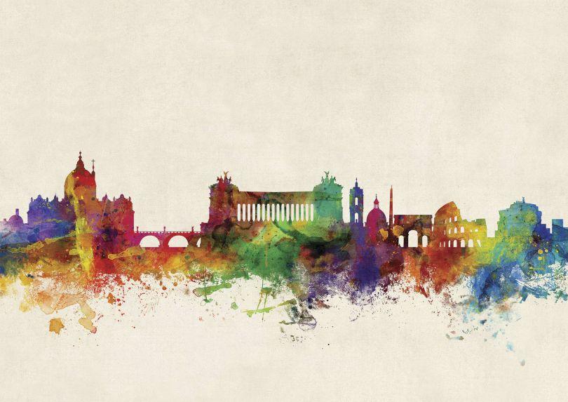 Rome Watercolour Skyline