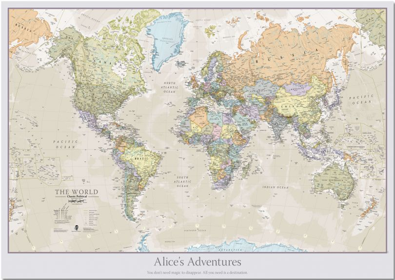 Large Personalised Classic World Map (Pinboard)