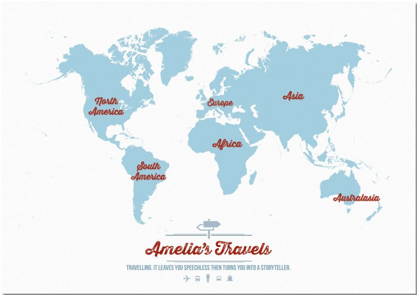 Large Personalised Travel Map of the World - Aqua (Pinboard)