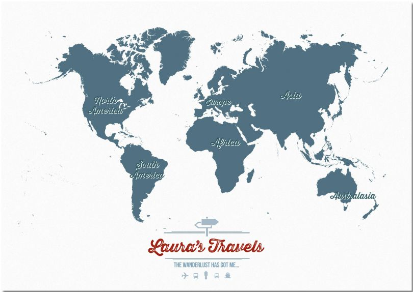 Large Personalised Travel Map of the World - Teal (Pinboard)