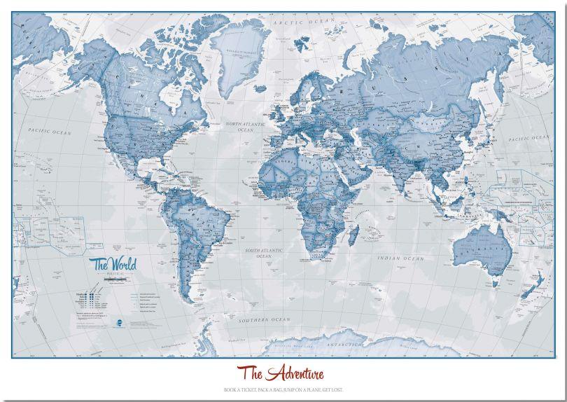 Medium Personalised World Is Art - Wall Map Blue (Pinboard)