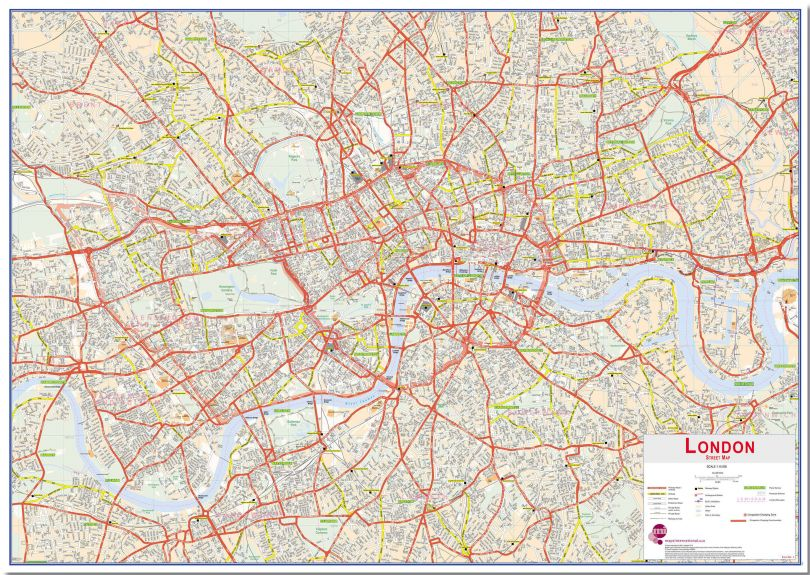 Large Central London street Wall Map (Pinboard)