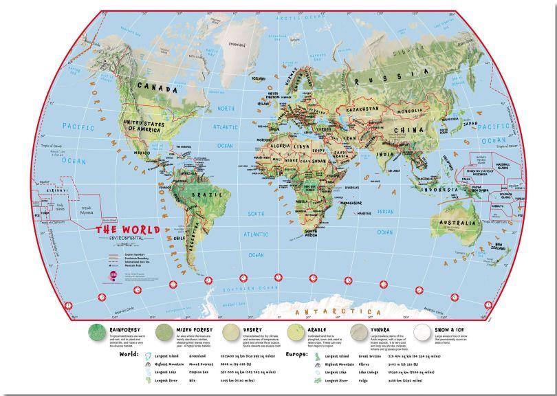 Medium Primary World Wall Map Environmental (Pinboard)