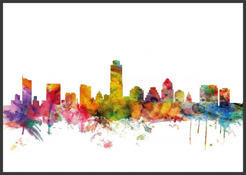 Large Austin Texas Watercolour Skyline (Wood Frame - Black)