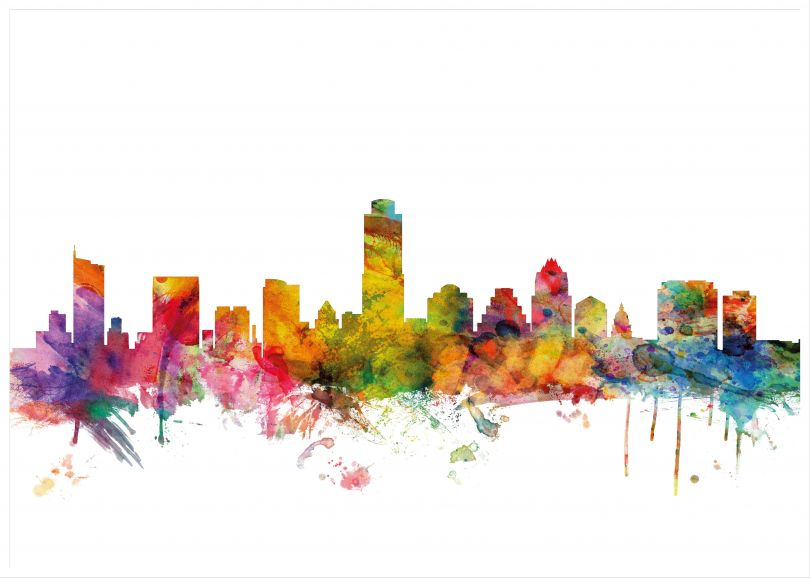 Large Austin Texas Watercolour Skyline (Pinboard & wood frame - White)