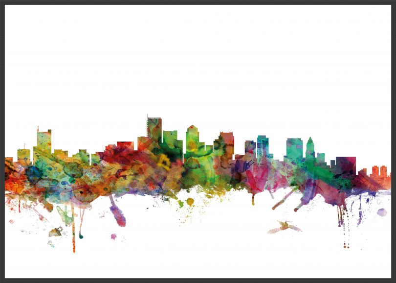 Large Boston Watercolour Skyline (Wood Frame - Black)