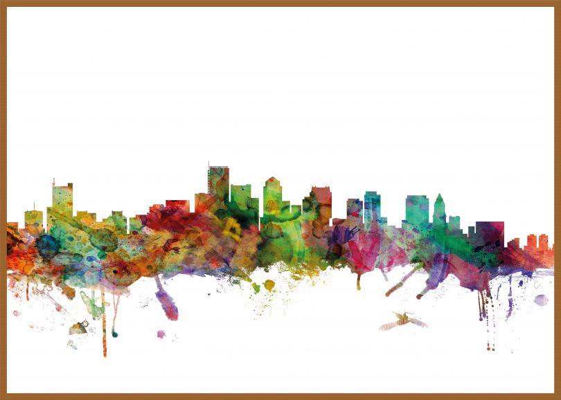 Large Boston Watercolour Skyline (Pinboard & wood frame - Teak)