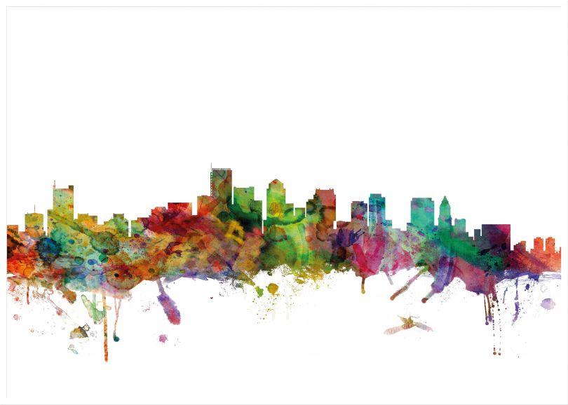 Large Boston Watercolour Skyline (Wood Frame - White)