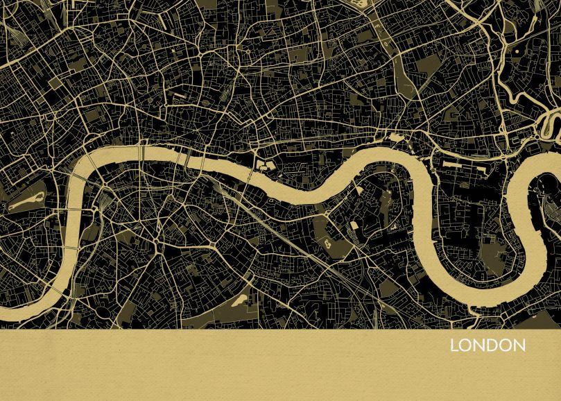 A4 London City Street Map Print Straw (Matt Art Paper)
