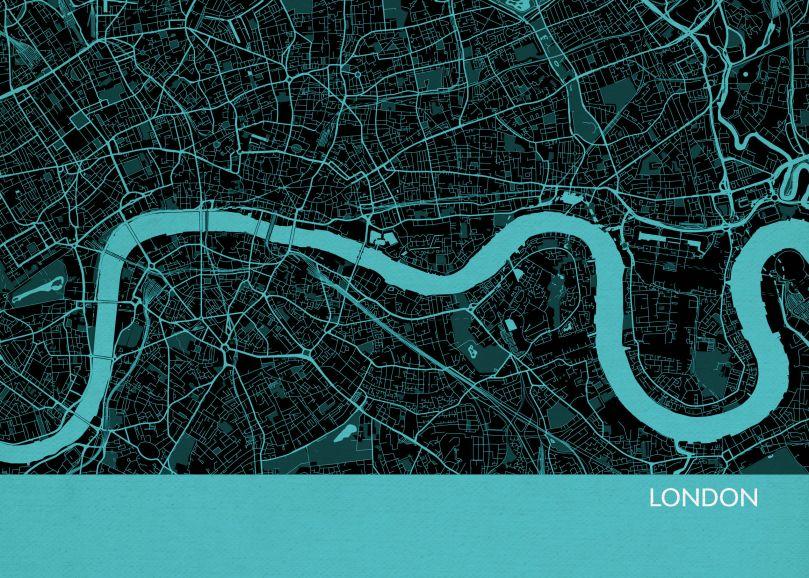 A3 London City Street Map Print Turquoise (Matt Art Paper)