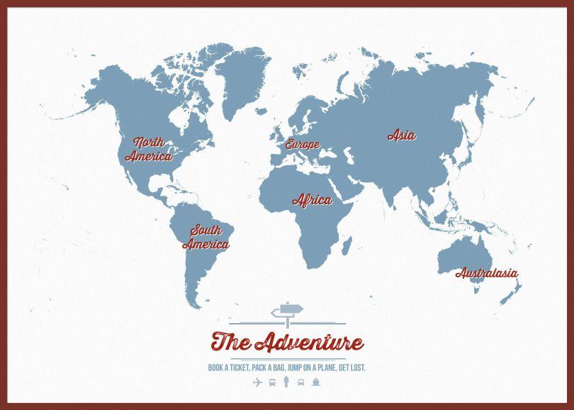 Huge Personalised Travel Map of the World - Denim (Pinboard & framed - Dark Oak)