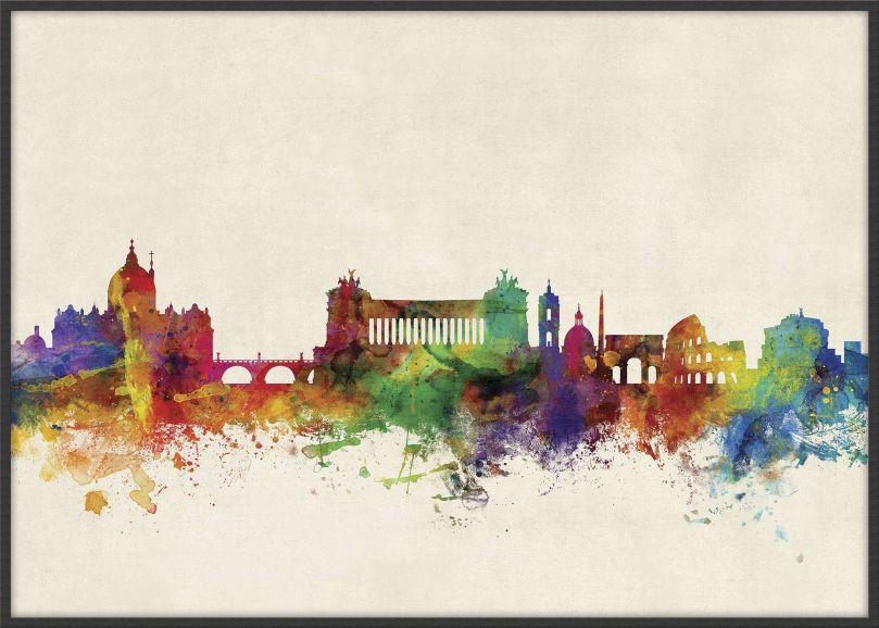 Large Rome Watercolour Skyline (Wood Frame - Black)