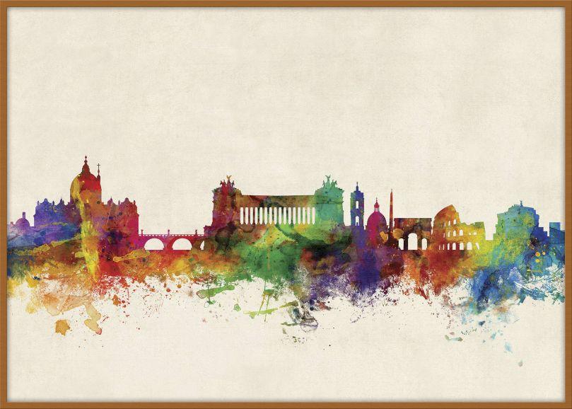 Large Rome Watercolour Skyline (Pinboard & wood frame - Teak)