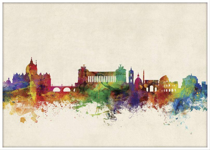 Large Rome Watercolour Skyline (Wood Frame - White)