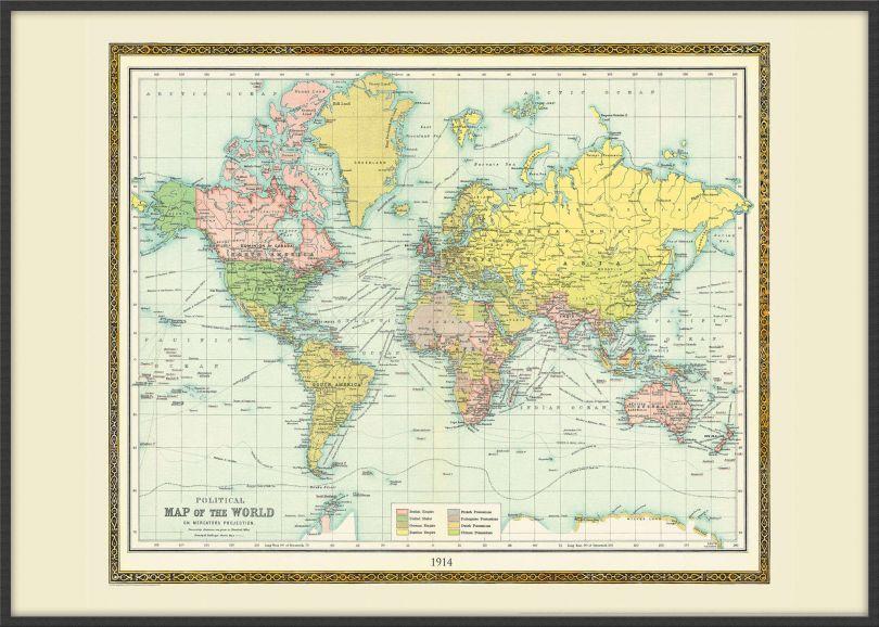 Large Vintage Bartholomew Political World Map 1914 (Wood Frame - Black)