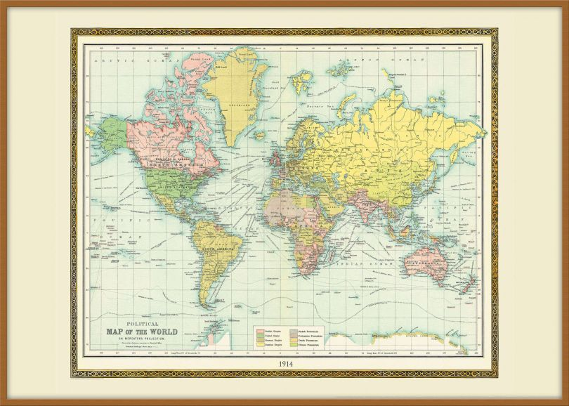 Large Vintage Bartholomew Political World Map 1914 (Pinboard & wood frame - Teak)