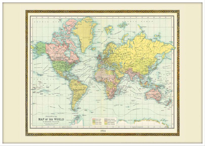 Large Vintage Bartholomew Political World Map 1914 (Wood Frame - White)