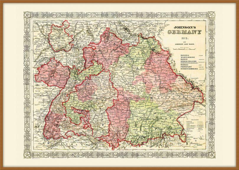 Large Vintage Johnsons Map of Germany No 3 (Pinboard & wood frame - Teak)