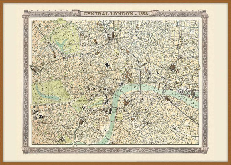 Large Vintage London Map from the Royal Atlas 1898 (Pinboard & wood frame - Teak)