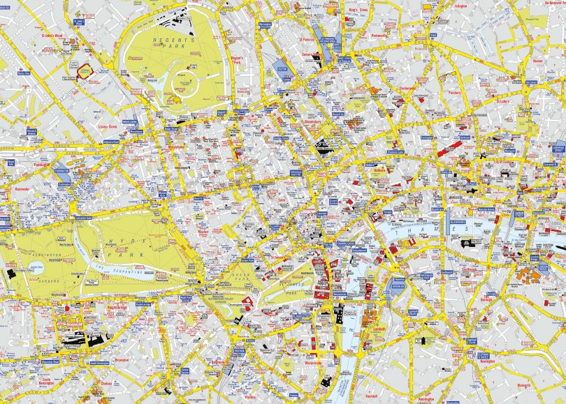 Small A-Z Visitors' Map London (Rolled Canvas - No Frame)