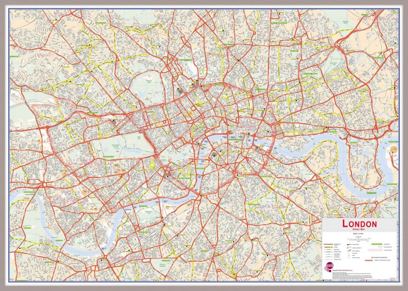 Large Central London street Wall Map (Pinboard & framed - Silver)