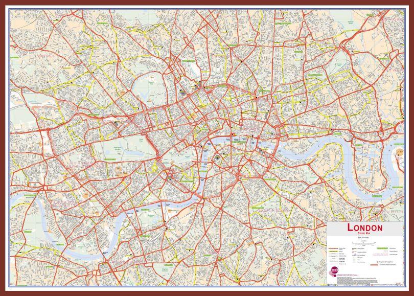 Large Central London street Wall Map (Pinboard & framed - Dark Oak)