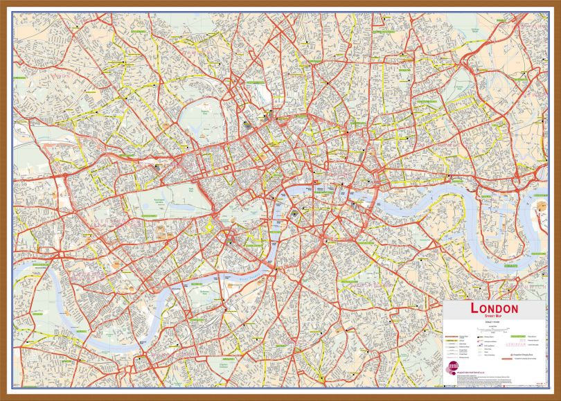 Large Central London street Wall Map (Wood Frame - Teak)