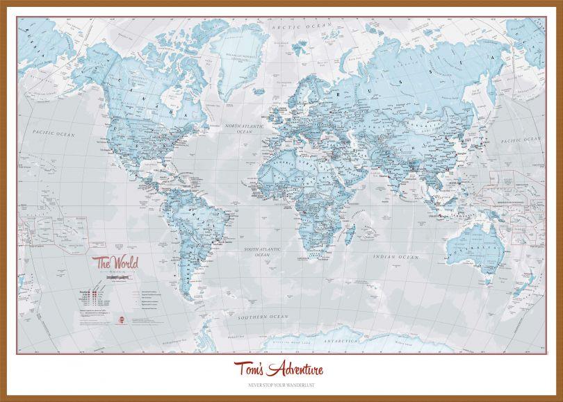 Large Personalised World Is Art - Wall Map Aqua (Wood Frame - Teak)