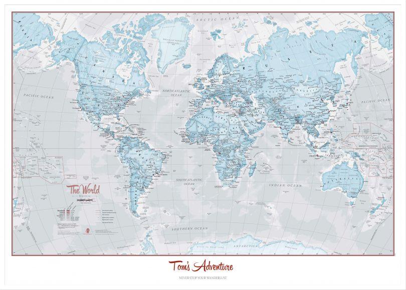 Large Personalised World Is Art - Wall Map Aqua (Wood Frame - White)