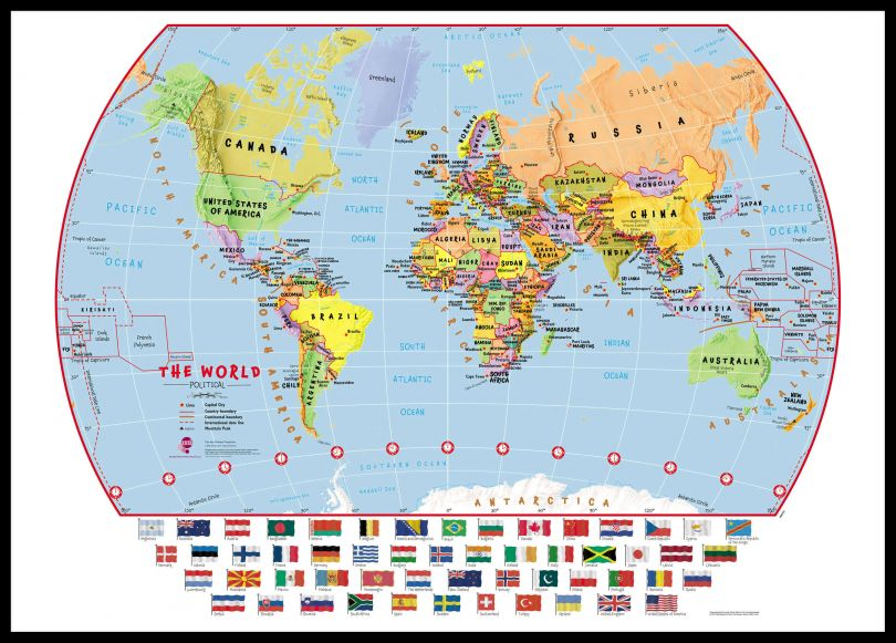 Large Primary World Wall Map Political with flags (Pinboard & framed - Black)
