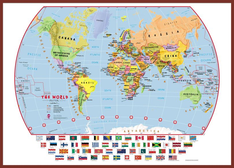 Large Primary World Wall Map Political with flags (Pinboard & framed - Dark Oak)