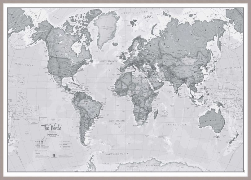Huge The World Is Art - Wall Map Grey (Pinboard & framed - Silver)