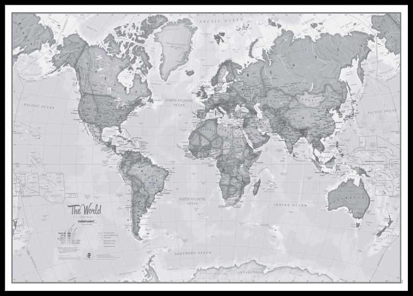Large The World Is Art - Wall Map Grey (Pinboard & framed - Black)