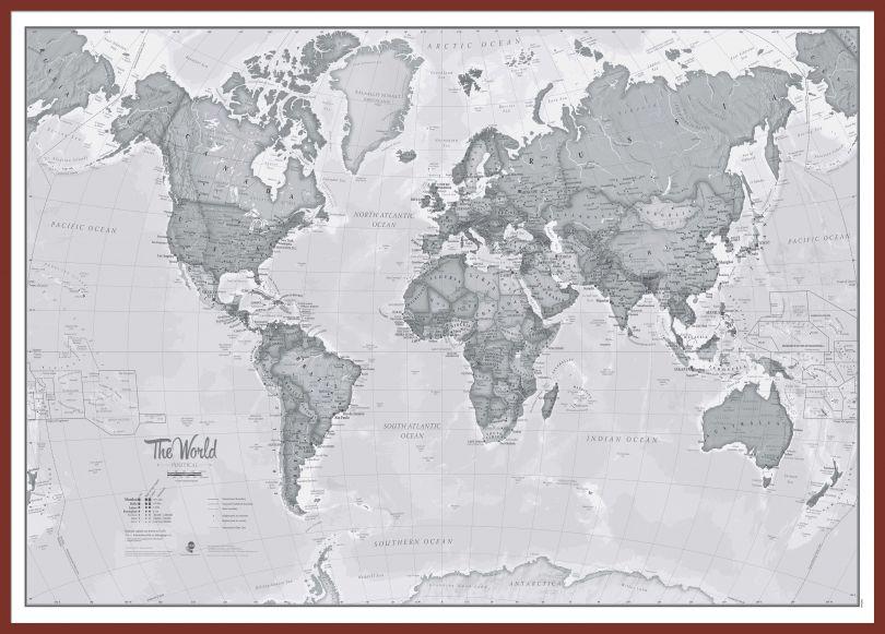 Huge The World Is Art - Wall Map Grey (Pinboard & framed - Dark Oak)