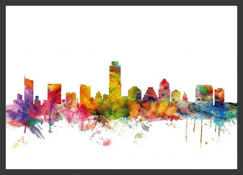 Medium Austin Texas Watercolour Skyline (Pinboard & wood frame - Black)