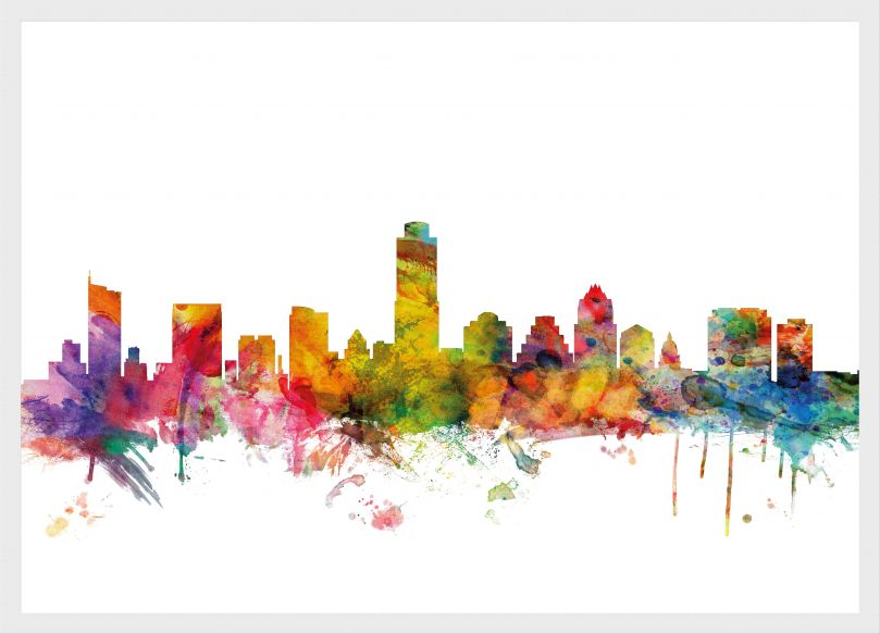 Medium Austin Texas Watercolour Skyline (Pinboard & wood frame - White)