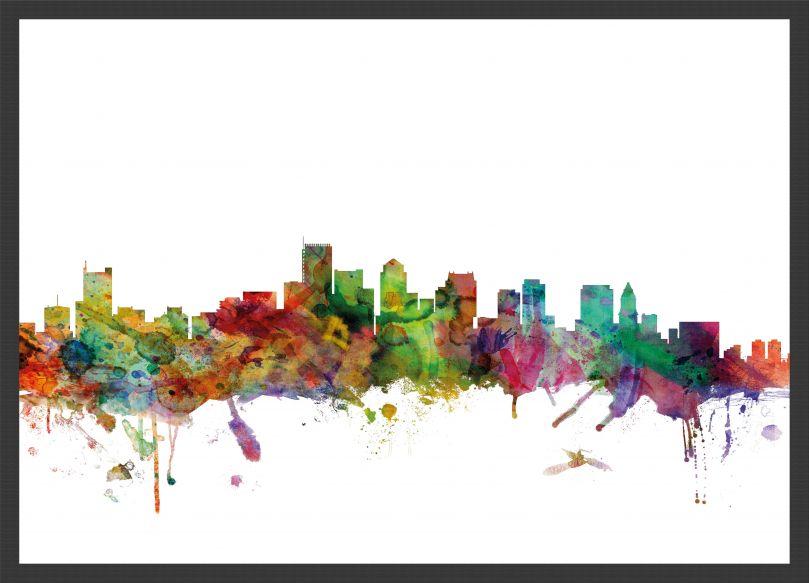 Medium Boston Watercolour Skyline (Pinboard & wood frame - Black)