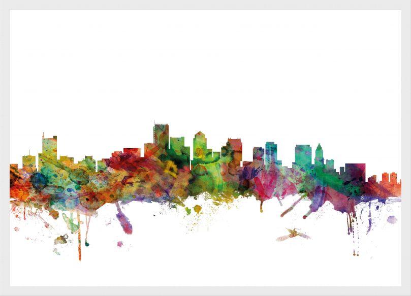 Medium Boston Watercolour Skyline (Pinboard & wood frame - White)