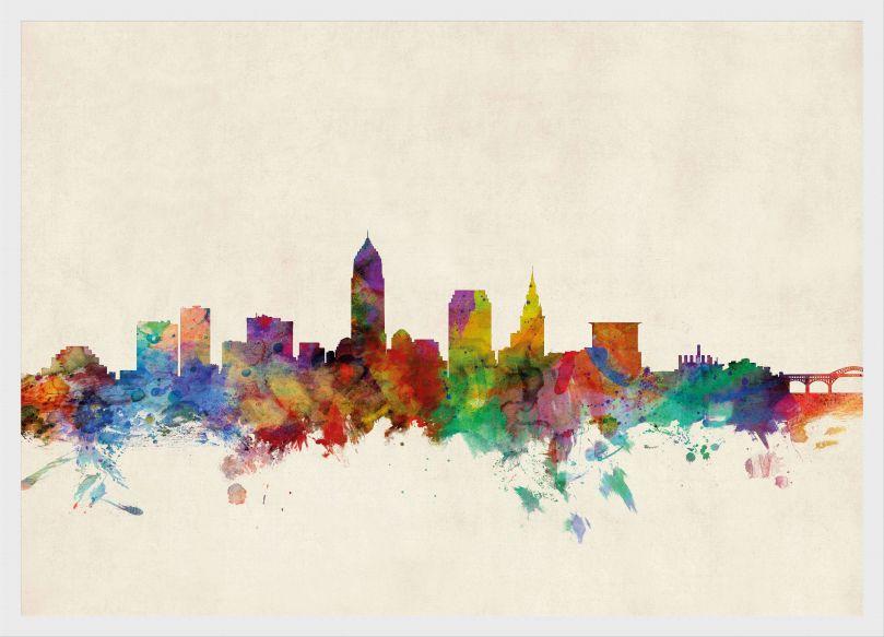 Small Cleveland Ohio Watercolour Skyline (Wood Frame - White)