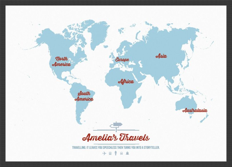 Medium Personalised Travel Map of the World - Aqua (Wood Frame - Black)