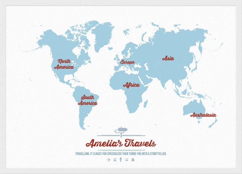 Medium Personalised Travel Map of the World - Aqua (Wood Frame - White)
