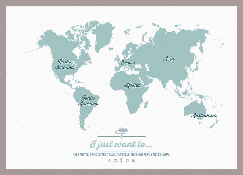 Small Personalised Travel Map of the World - Rustic (Pinboard & framed - Silver)