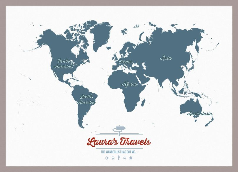 Small Personalised Travel Map of the World - Teal (Pinboard & framed - Silver)