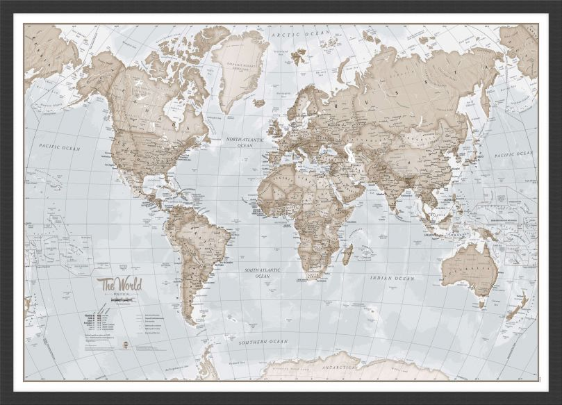 Small The World Is Art - Wall Map Neutral (Pinboard & wood frame - Black)