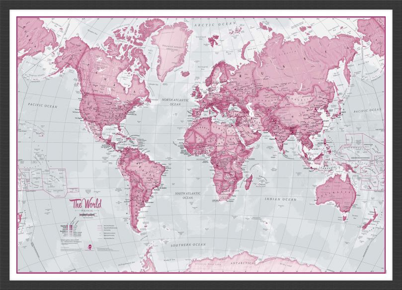 Small The World Is Art - Wall Map Pink (Pinboard & wood frame - Black)