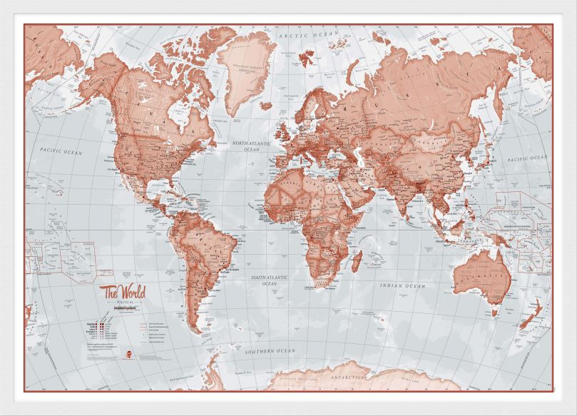 Medium The World Is Art - Wall Map Red (Wood Frame - White)