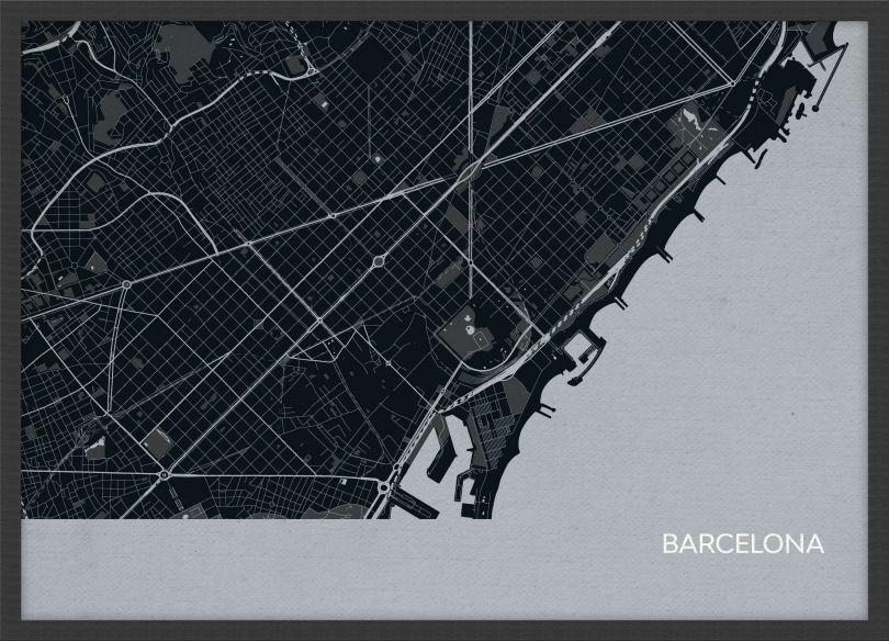 A3 Barcelona City Street Map Print Charcoal (Wood Frame - Black)
