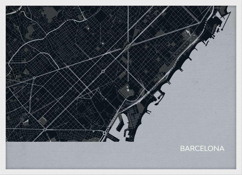 A3 Barcelona City Street Map Print Charcoal (Wood Frame - White)