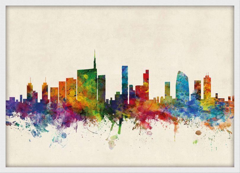 Small Milan Watercolour Skyline (Wood Frame - White)